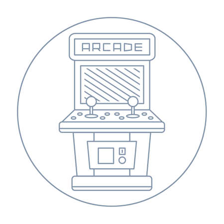 ARCADE GAMES: simple line drawn vintage game arcade cabinet icon isolated illustration on white background