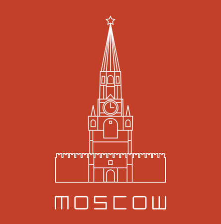 Simple line Moscow Kremlin clock tower icon - white vector illustration on brick orange color Vector