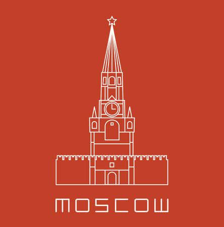 kremlin: Simple line Moscow Kremlin clock tower icon - white vector illustration on brick orange color