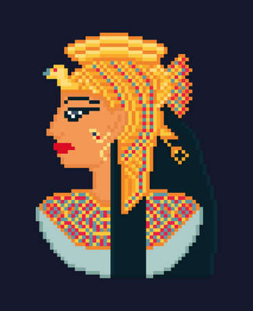 Vector pixel art illustration of woman cleopatra portrait  from ancient Egypt on dark background Illustration