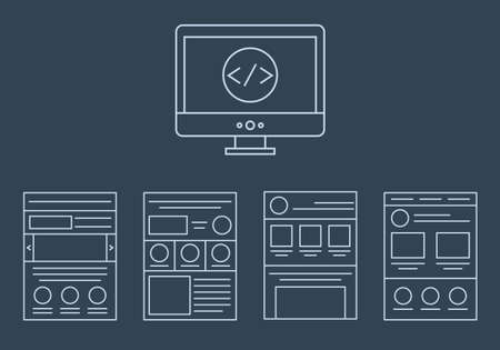 vector collection of web development icons - html css tags and page layout  isolated on white background isolated on dark background