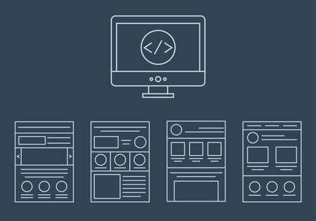 css: vettore collezione di icone di sviluppo web - html tag CSS e layout di pagina isolato su sfondo bianco isolato su sfondo scuro