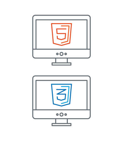 css: simple line illustration of web development icons, html and css - isolated on white background