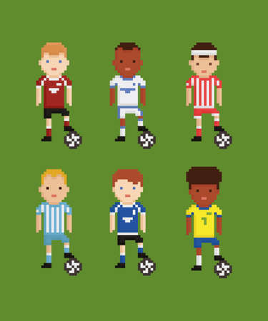 pixel art style vector set - football soccer players in different uniforms on green field holding the ball with his leg six players Иллюстрация