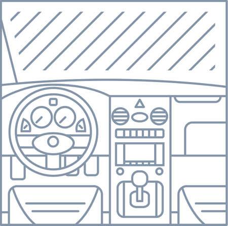 Flach einfache Linie Illustration der Autoinnenansicht - Fenster, whell, Platte, Pedale graue Linien auf weißem Hintergrund Symbol Vektorgrafik