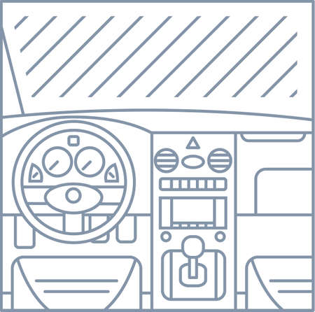 flat simple line illustration of car interior view - window, whell, panel, pedals gray lines on white background icon