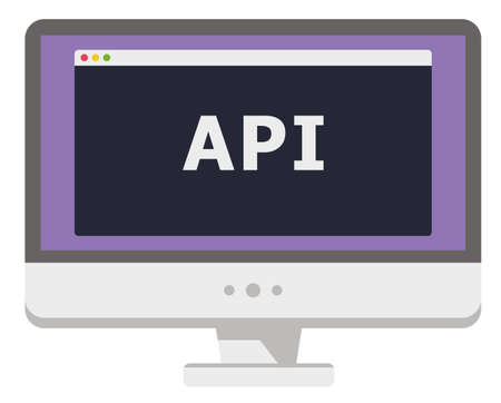 vector illustration of personal computer display showing window with api heading itisolated on white