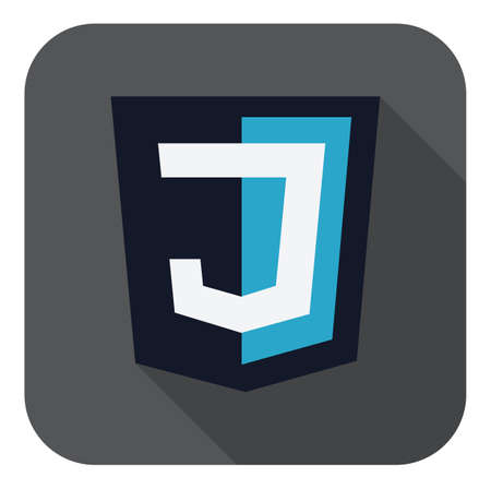 js: vector illustration of dark blue shield with J letter on the screen, isolated web site development icon on white background