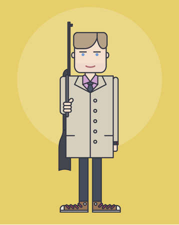 standing in line: line style illustration showing man in coat standing with rifle on light yellow background