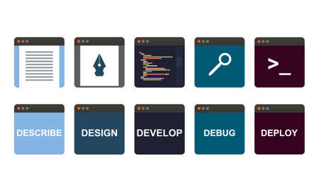develop: web development process, descripe, design, develop, debug, deploy isolated icons on white background