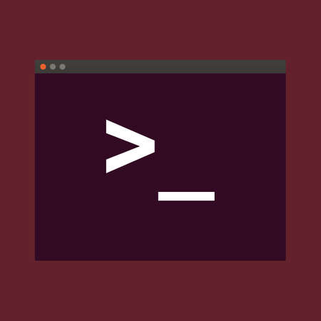 command: Terminal startup icon, direct access to system via command line - illustration on vinous background