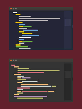 two color themes of developer code editor, flat design illustration on vinous background Illustration