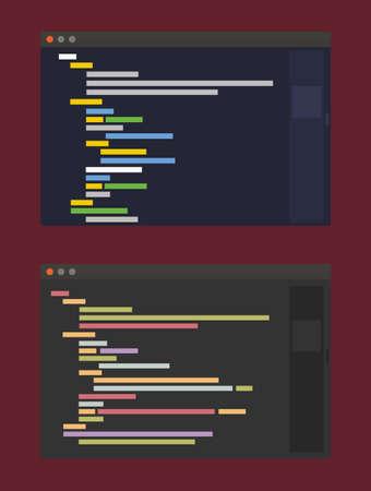 two color themes of developer code editor, flat design illustration on vinous background Stock Illustratie