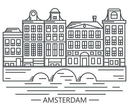 古いアムステルダム、オランダのブリッジ設定ベクトル線の描画図は、白で隔離の家します。