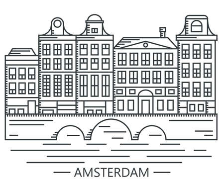 Old Amsterdam Holland houses on bridge set vector line drawn illustration isolated on white Illustration