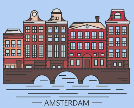 dutch landmark: Old Amsterdam Holland houses on bridge set vector line drawn illustration isolated on blue background