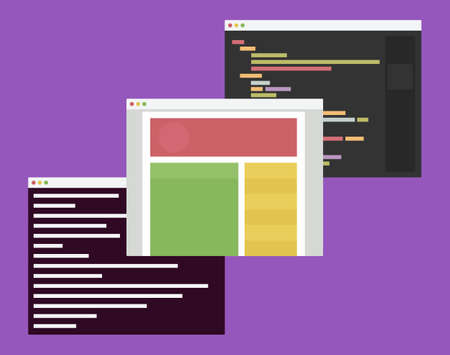 hypertext: flat design illustration of computer windows with web development code editor, browser and terminal on a purple background
