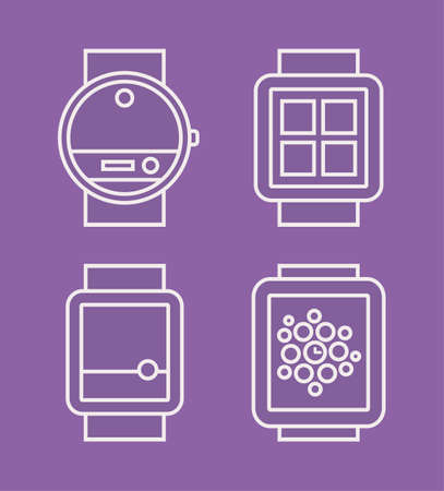 wireles: Wrist Watch Phone, flat white  line drawn icon, vector illustration isolated on a purple background