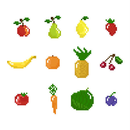 8 bit: pixel art style fruits, vegetables and berries collection isolated on white background Illustration