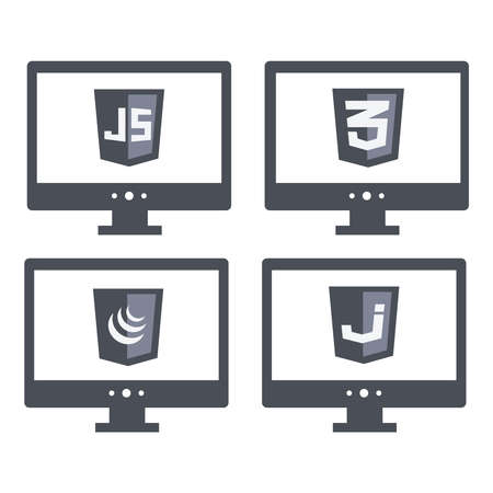 css3: vector collection of web development shield signs - css3 and javascript. isolated grey icons on white background