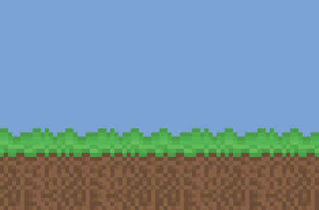 grass and sky: Vector pixel art meadow green, brown, blue sky background texture for games and design
