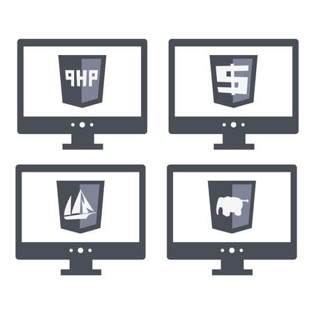 php: vector collection of web development shield signs php. isolated  grey icons on white background Illustration