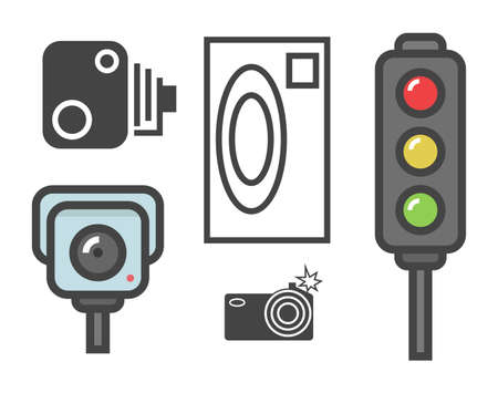 proceeds: vector flat design illustration of road speed camera signs and traffic lights isolated on white