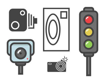 vector platte ontwerp illustratie van de weg flitspaal borden en verkeerslichten op wit wordt geïsoleerd