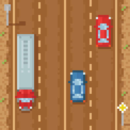 cars on road: Road with red blue cars and cargo truck - retro pixel art vector illustration