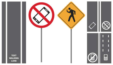 sidewalks: vector set shows road traffic pedestrian signs. first mobile phone sidewalks lane isolated on white