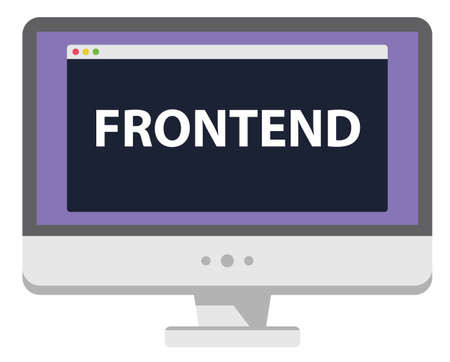 Web development illustration computer display says Frontend isolated on white Illustration