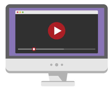 Personal-Computer-Bildschirm mit Web-Video-Player. Isoliert auf weißem Hintergrund. Vektor-Illustration Standard-Bild - 42933319