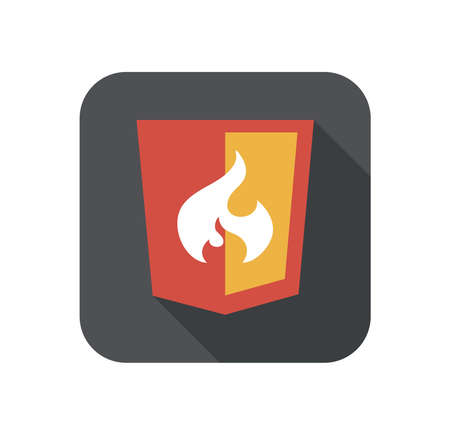 css3: vector illustration of web shield, flame php framework, isolated flat design site development icon with long shadow on white background