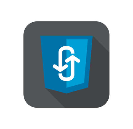 javascript: Illustration of blue shield with programming technology ajax asynchronous JavaScript, isolated web site development icon long shadow Illustration