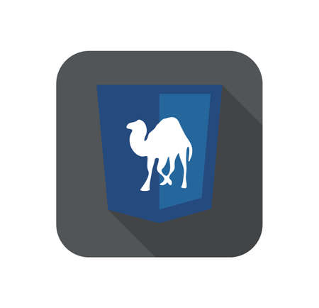 perl: Vector illustration of purpur shield with camel programming language, isolated site development icon on white background