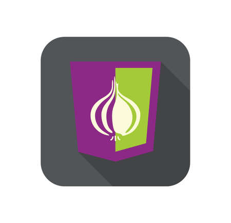 web browser: Vector illustration of purpur shield with onion protected web browser, isolated site development icon on white background