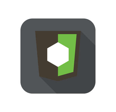 node: Vector icon web shield with shape symbol for node js framework - isolated flat design illustration long shadow on while background