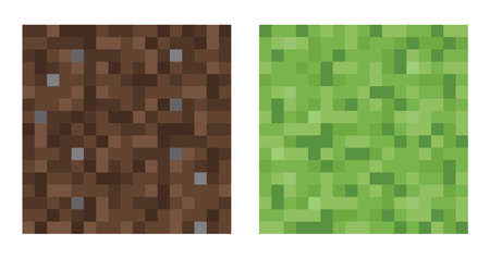 screenshot: Texture for platformers pixel art vector - mud and bush pattern