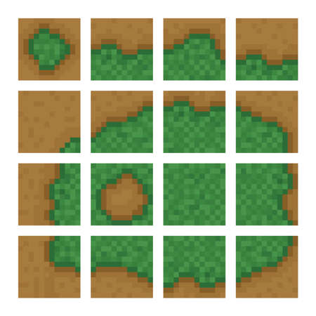 levels: Box game level vector objects - land, bush, forest boxes
