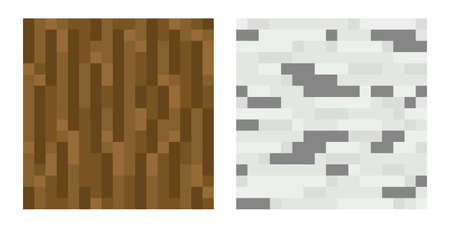 tree texture: Texture for platformers pixel art vector - brown tree trunk, birch isolated Illustration