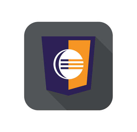 editor: vector web development shield sign - code editor. isolated flat icon on white background
