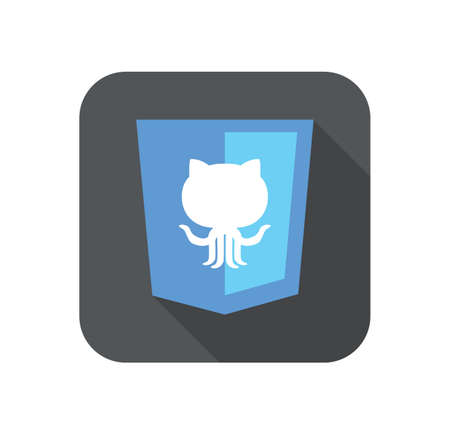 git: vector web development shield sign - version control system. isolated flat icon on white background Illustration