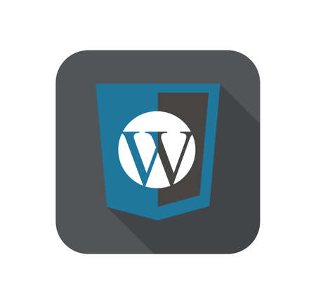managment: vector web development shield sign - php site content managment system W letter. isolated flat icon on white background Illustration
