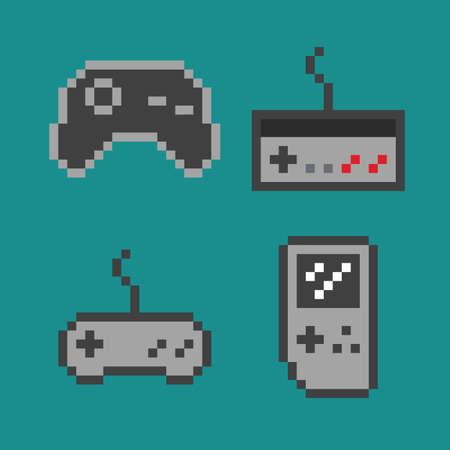 Vector pixel art illustration - simple gamepads set isolated flat icons Illustration