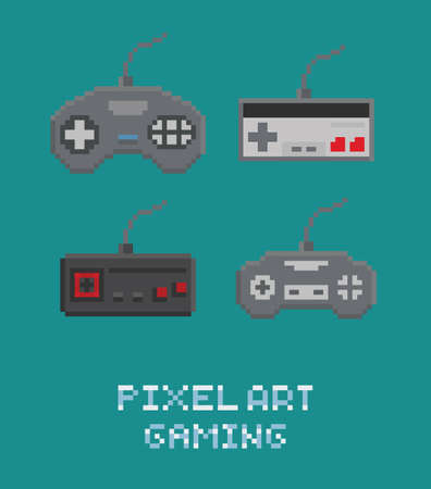 Vector pixel art illustration - retro gamepads set isolated flat icons Illustration