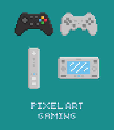 gamepads: Vector pixel art illustration - modern gamepads set isolated flat icons Illustration