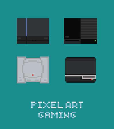 illustraion: Pixel art vector illustraion retro video game console icon set old game station
