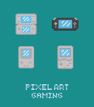 portable console: Pixel art vector illustraion retro video game portable  console icon set old game station