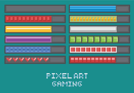 pixel art: pixel art game development set - progress bar, loading, health points, mana, ammo flat design