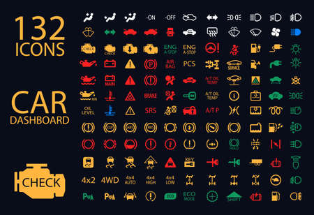 dash: vector collection of car dashboard panel indicators, yellow red green blue indicators 132 icons